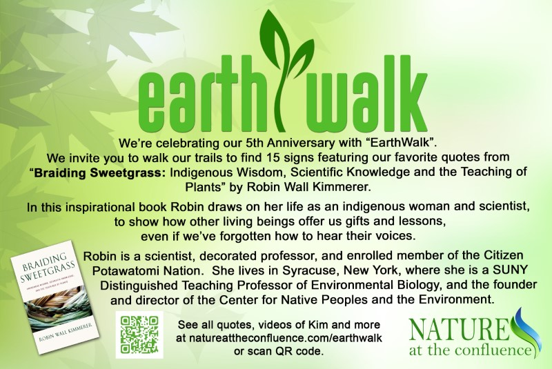 Earthwalk Trail launched to celebrate Earth Day | featuring quotes from Braiding Sweetgrass